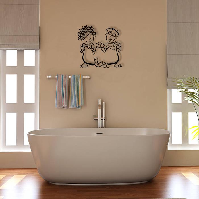 Waterproof Bathroom Metal Wall Art - Double Bubbles- Rubber Ducks