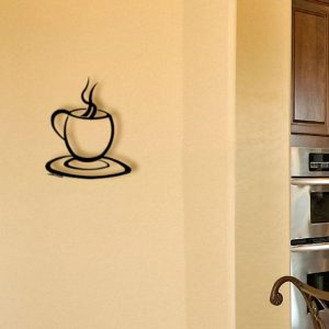 Coffee Cup Metal Wall Sculpture