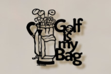 Golf Bag Metal Wall Sculpture