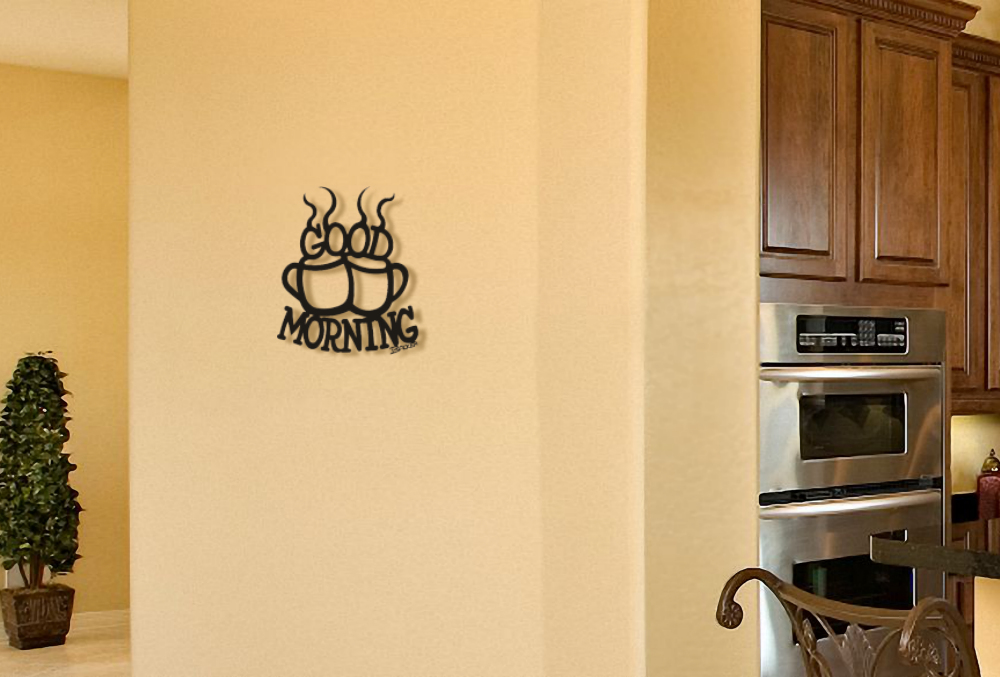 Metal Wall Décor -2 cups of coffee-Good Morning- Kitchen