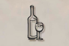 Bottle of Wine with Wine Glass Wall Art