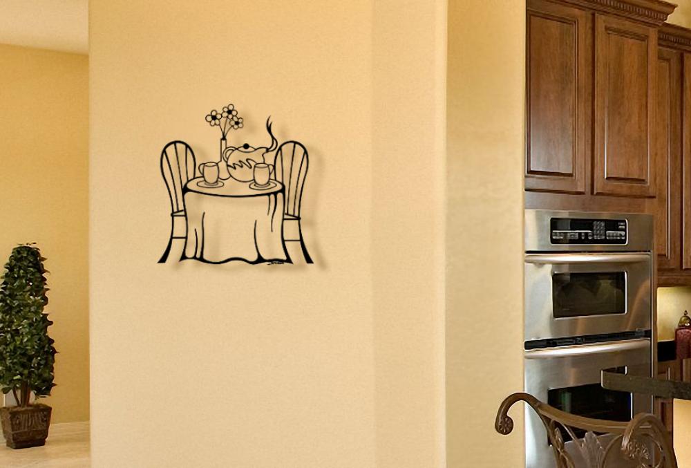 Metal Tea Wall Art Sculptures - Tea for two kitchen