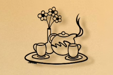 Tea Pot Tray Metal Wall Art