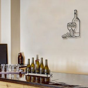 Wine Glasses Metal Wall Sculpture