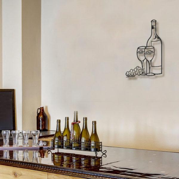 Wine Glasses Metal Wall Sculpture