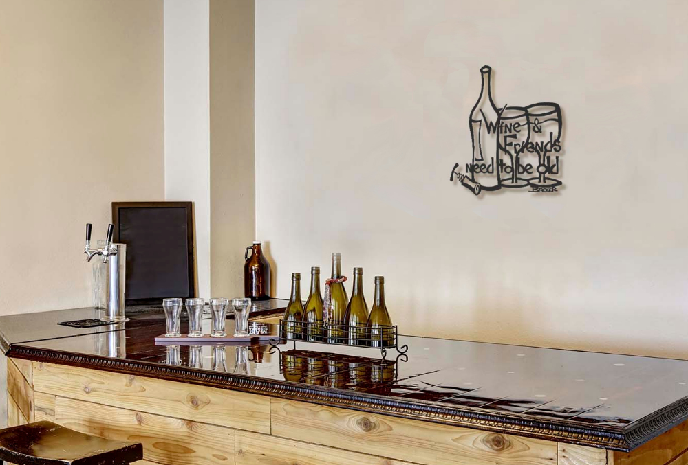 Wine themed metal kitchen wall art wine and friends small for Kitchen themed wall art