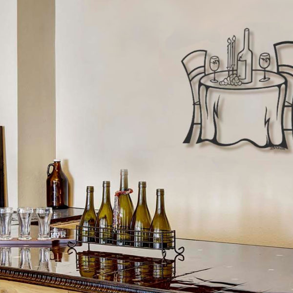Wine Table Metal Wall Sculpture