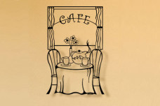 Cafe Scene metal kitchen wall art