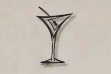 Straight Martini Glass metal bar art